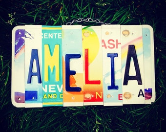 Recycled . License plate. Sign. For girls. Room. Travel. Hawaii. Handmade.