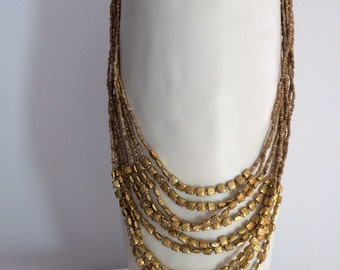 Gold & Cream Multi Strand>>Layer Necklace>Beautiful>Elegant Design>Summer or Winter Trends >Gift Idea>Fashion>Accessory>Wedding