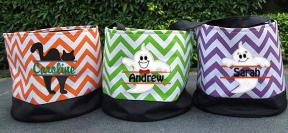 chevron embroidered halloween bucket personalized trick or