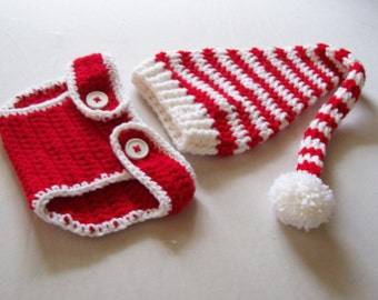 Baby Christmas Stocking Hat & Diaper Cover Set - 0 to 3 Months, 3 to 6 Months, 6 to 12 Month - Red, White - Yuletide, Christmas