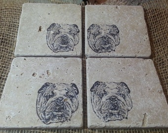 Natural Tumbled Marble Stone English Bulldog Coasters