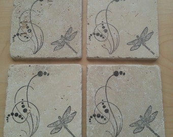 Natural Stone Rustic Dragonfly Coasters
