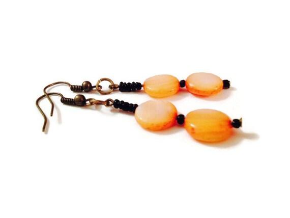 Eco Friendly Dangle Earrings Black and Orange Shell