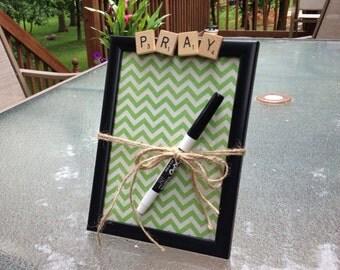 PRAY, Dry Erase Board, Message Board, prayer requests, Prayer board, Home Decor, Chevron