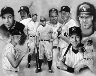 """New York Yankees, Babe ruth, mickey mantle painting, poster, print, reproduction, collage,16""""x20"""",22,4""""x28"""",30""""x40"""""""
