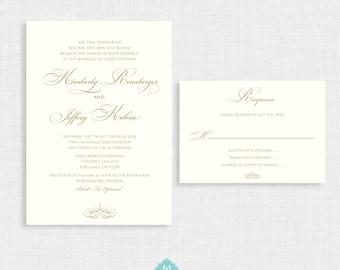 Printable wedding invitation with RSVP Card- Simple Wedding Invitation- Invitation Template- Customizable Invitation
