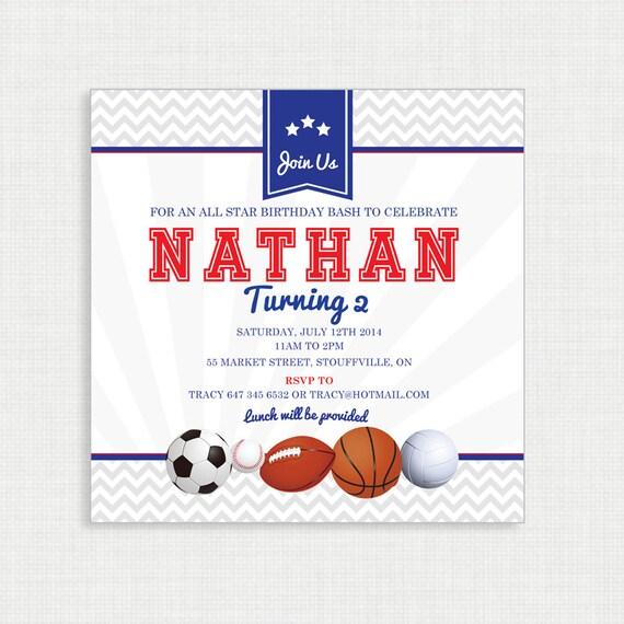 Printable Birthday Invitation- Sports Birthday Invitation, Sports Birthday Party Invitations, All Star birthday, DIY,  Printable Template