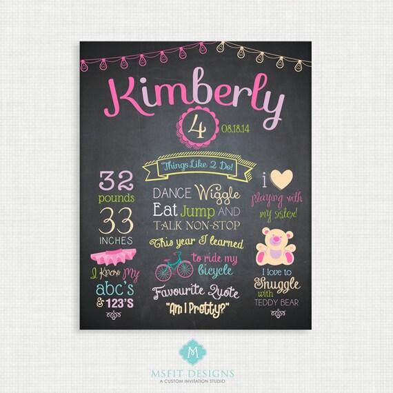 First Birthday Chalkboard Sign -11x14 Personalized & Printable - Girl Birthday Chalkboard Poster - Custom Birthday Sign