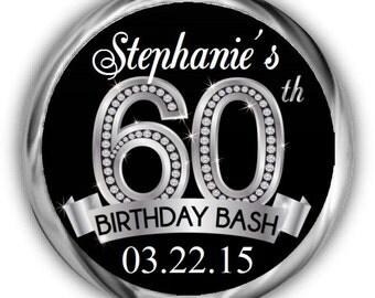 60th Birthday Stickers - Personalized Birthday Sticker - High Quality Birthday Kiss Favors