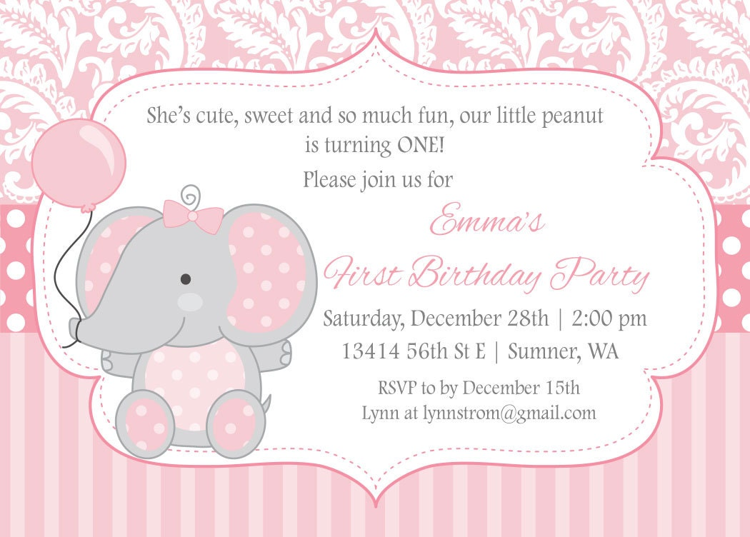 Elephant Birthday Invitations