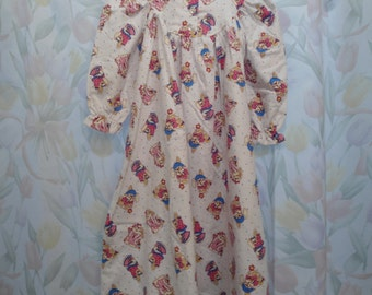 Size 4 Girls Gown with Pink Rabbits on white