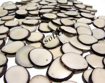 Natural Tagua Large Slices. QTY: 2pcs