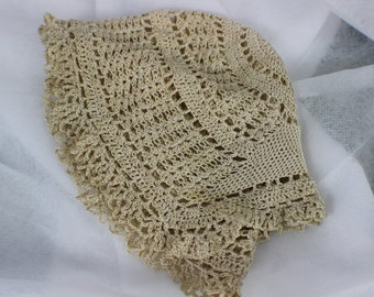 vintage crocheted wedding cap tea stained