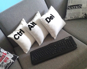 "Set of 3 pcs : Ctrl, Alt, Del cushion covers, decorative pillow cases, inspired by ""Two & A Half Men"" series"