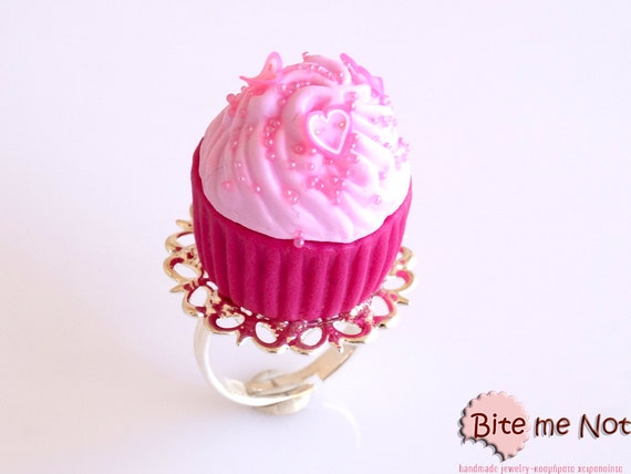 Scented food jewelry hot pink cupcake ring miniature food for How to make scented jewelry