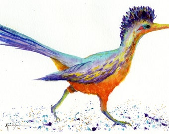 Roadrunner Bird Archival Print of Original Watercolor 5x7 inch. Orange Teal Purple Nursery Home Office Decor Nature