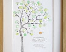 Baby shower, fingerprint tree, diy baby room decor, custom birth details, REGULAR SIZE  A4 print