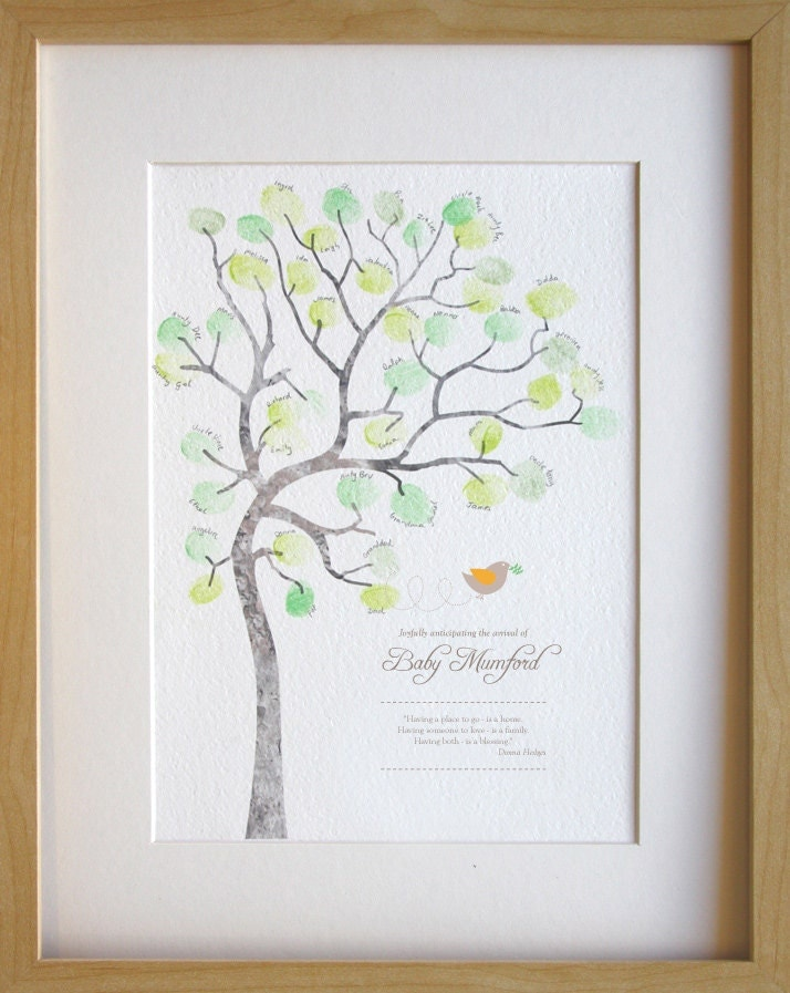 baby shower fingerprint tree diy baby room decor custom