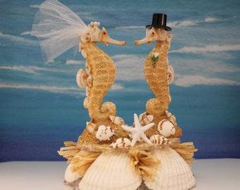 Sea Horse Beach Inspired Bride & Groom Cake Topper / Decoration / Cake Top / Shells