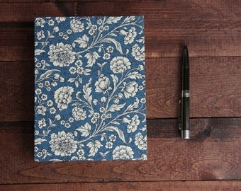 Blue Floral Notebook Sketchbook or Journal // Coptic