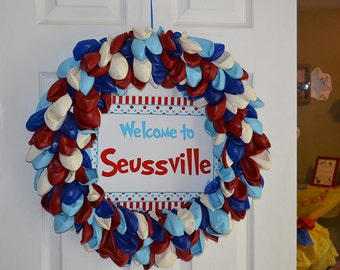 Dr Seuss inspired balloon wreath