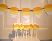 Halloween Candy Corn cupcake & cake pop toppers; Halloween banner; Halloween Party Pack