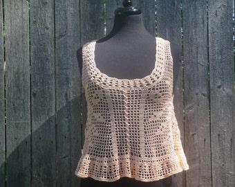 Crochet tank top, womens tank top, Made to order filet crochet, custom made