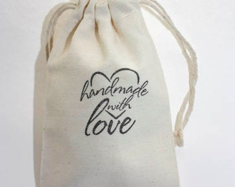 10 3x5 Handmade with Love Stamped Muslin Bags, Merchandise Bags, Favor Bags, Small Muslin Bag, Cotton, Handmade with Love Stamp