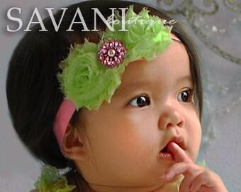 Bright Green,  pink Baby headband, vintage headband, shabby chic roses headband, headband
