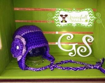 Flower Crochet Ear Flap Hat (Child-Adult Sizes)