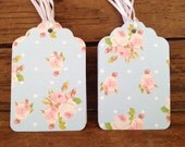 """2.75"""" 12 Pack of blue polka dot with small pink vintage floral gift/favor/merchandise tags - Cath Kidston themed."""