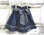 Girls Skirt - Daisy - Indigo Denim Blue Chambray Skirt - Little / Toddler Girl Twirl Ruffle Skirt - Clothing by Old Vintage Bike