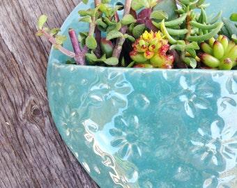 Ceramic, Large Robins Egg Heart Planter, Wall Hanging, Handmade, Gift, Housewarming, Home Decor