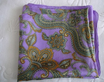 Pure Indian Silk Scarf. Paisley pattern in shades of purple, brown and green. Free shipping