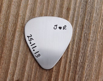 Guitar pick hand stamped personalized date and initials stainless steel jewelry