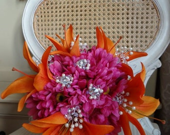Tiger Lily and Hot pink Gerbera bouquet