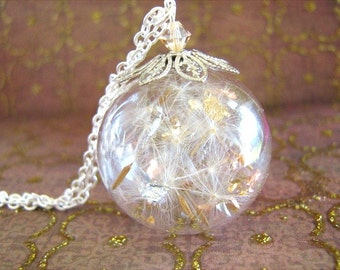 Dandelion Necklace, Make a Wish,  Birthday Gift, Globe Necklace, Real Gold and Silver Leaf, Dandelion Seed Globe, Gift for Her,