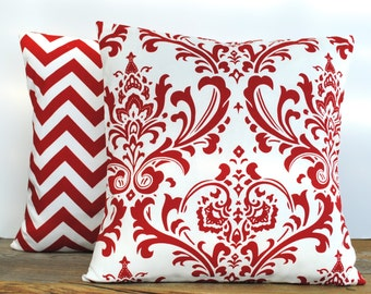 Two Premier Prints floral and zig zag red/white pillow covers, cushion, 18x18, decorative throw pillow, decorative pillow, accent pillow