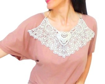 Cotton lace necklace, Crochet Bib Necklace, Bohemian Boho, Aplique, Detachable Cream Crochet collar, FREE SHIPPING, Woman Accessories