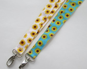 Sunflower Lanyard Keychains for Women, Cool Lanyards for Keys, Id Badge Holder Necklace Lanyards, Cute Lanyards for Badges, Floral Lanyard