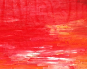 """RED LOVE - large original modern abstract wall decor painting, size: 26"""" X 46"""" (68 X 118 cm)"""