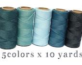 Sea Green Macrame Cord Set - 5 colors x 10 yards each - Hilo Encerado Linhasita