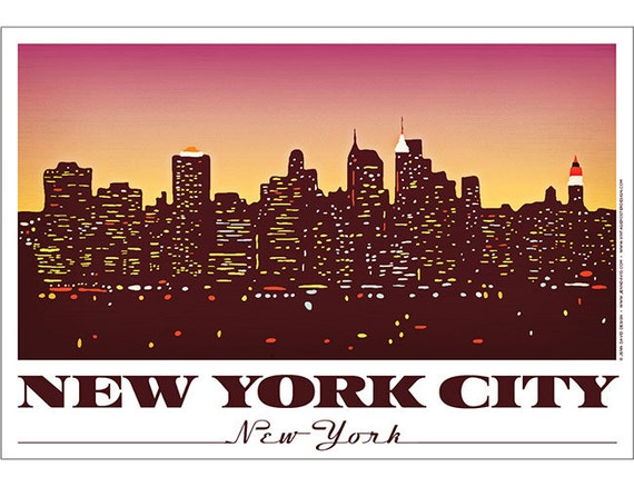 new york city manhattan skyline poster. Black Bedroom Furniture Sets. Home Design Ideas