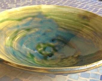 Decorative Ceramic Bowl (Green/Blue)