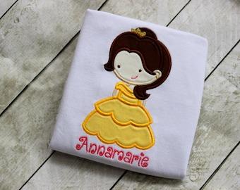 Princess Belle shirt birthday disney clothing girls Belle birthday outfit princess shirt princess Belle outfit applique pink yellow birthday