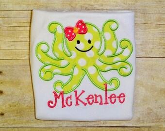 girls octopus summer shirt  beach shirt girls lime green birthday shirt  toddler summer birthday clothing girl birthday applique top
