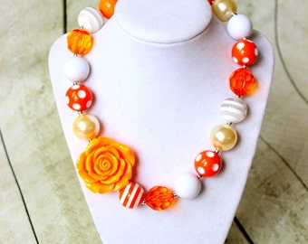 Halloween chunky bubblegum bead necklace candy corn orange cream white  girls chunky bead necklace for girls bubble gum bead