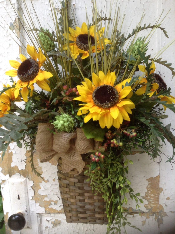 Summer Wreath For Door Sunflower Wreath Sunflower Wall