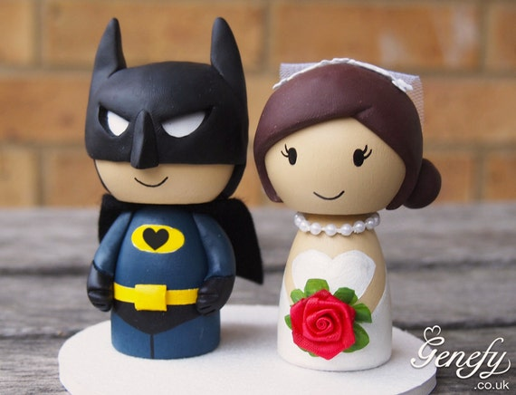 Cute superhero wedding cake topper - Bat Groom and Bride