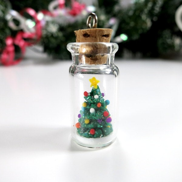 Christmas Tree Ornaments Etsy: Christmas Tree Bottle Ornament Gift Christmas Miniature Tree